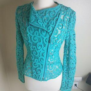 Elie Tahari Brenna Swirl Lace Moto Jacket 8